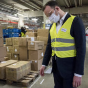 warehouse worker wearing mask