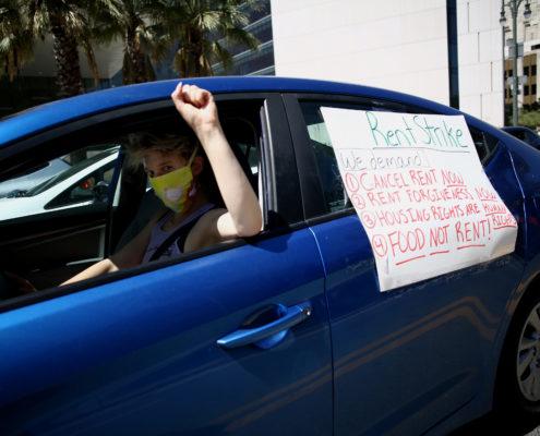 rent strike sign