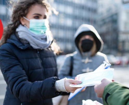 distributing face masks