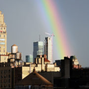 NYC skyline rainbow