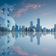 dollar symbol over skyline
