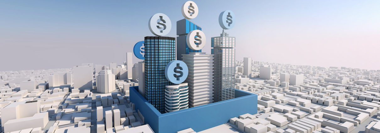 cityscape dollar signs