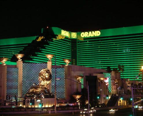 The MGM Grand which opened in 1993 is the undisputed behemoth of the hospitality world with 6198 rooms The 30story tower rises 208 feet high and features more than 170000 sq ft of casino space a number of highprofile restaurants including Michelinrated Joel Robuchon Restaurant Tom Colicchios Craftsteak and Wolfgang Puck Bar  Grill a 16800seat event arena a 380000sqft convention center and a collection of shops And what kind of a Las Vegas hotel would be complete without a weddin