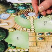 landscape architect drawing garden