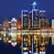 detroit downtown skyline at night