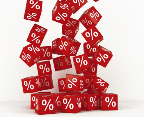 percentage-symbols on cubes-falling