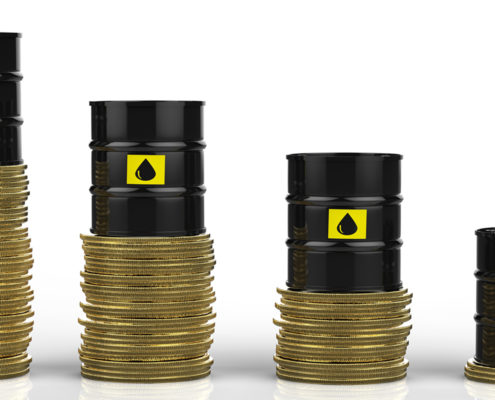 oil prices down barrels money chart bars