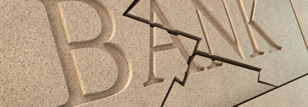 cracked bank sign